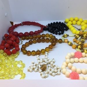 Jewelry - Nine 70's inspired bead necklaces